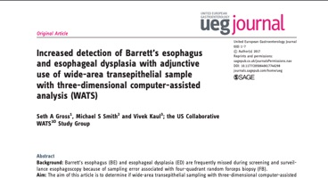 Increased detection of Barrett's esophagus and esophageal dysplasia with adjunctive use of wide-area transepithelial sample with three-dimensional computer-assisted analysis (WATS)